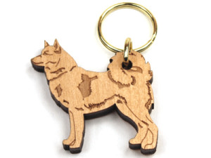 Finnish Spitz birch wood key ring by Veico    –  £4.00