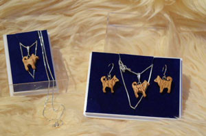 Finnish Spitz curly birch / silver jewellery sets by Wood Jewel (only 1 of each left)