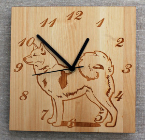 Finnish Spitz birch wood clock by Veico    –  * SOLD OUT * – please enquire about special orders