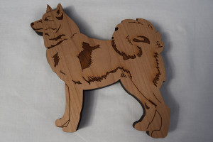 Finnish Spitz shaped birch wood wall-hanging by Veico   –   £10.00