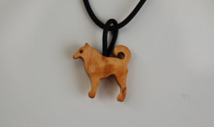 Finnish Spitz curly birch small necklace (rubber chain) by Wood Jewel (only 1 left)