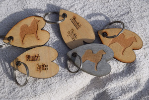 Finnish Spitz wood veneer Key Rings £3.50
