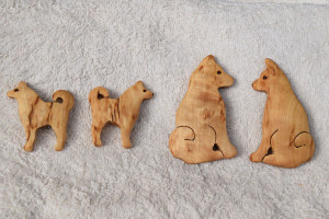 Finnish Spitz curly birch fridge magnets by Wood Jewel   –   £5.00